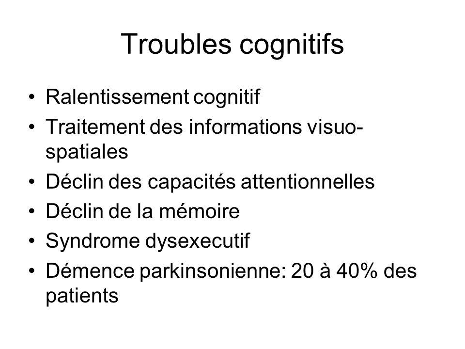 Troubles cognitifs Ralentissement cognitif Traitement des informations visuo- spatiales Déclin des capacités attentionnelles Déclin de la mémoire Synd