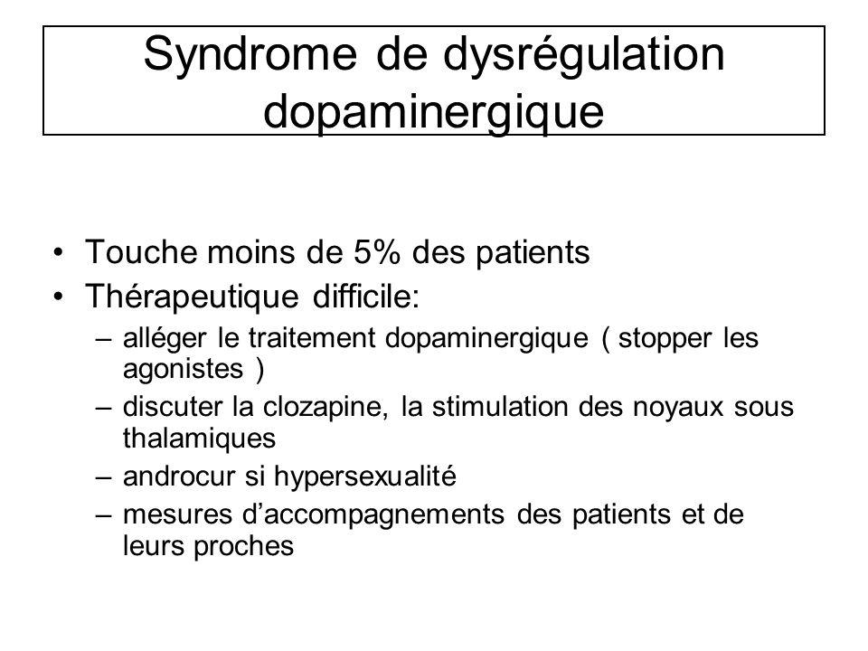 Syndrome de dysrégulation dopaminergique Touche moins de 5% des patients Thérapeutique difficile: –alléger le traitement dopaminergique ( stopper les
