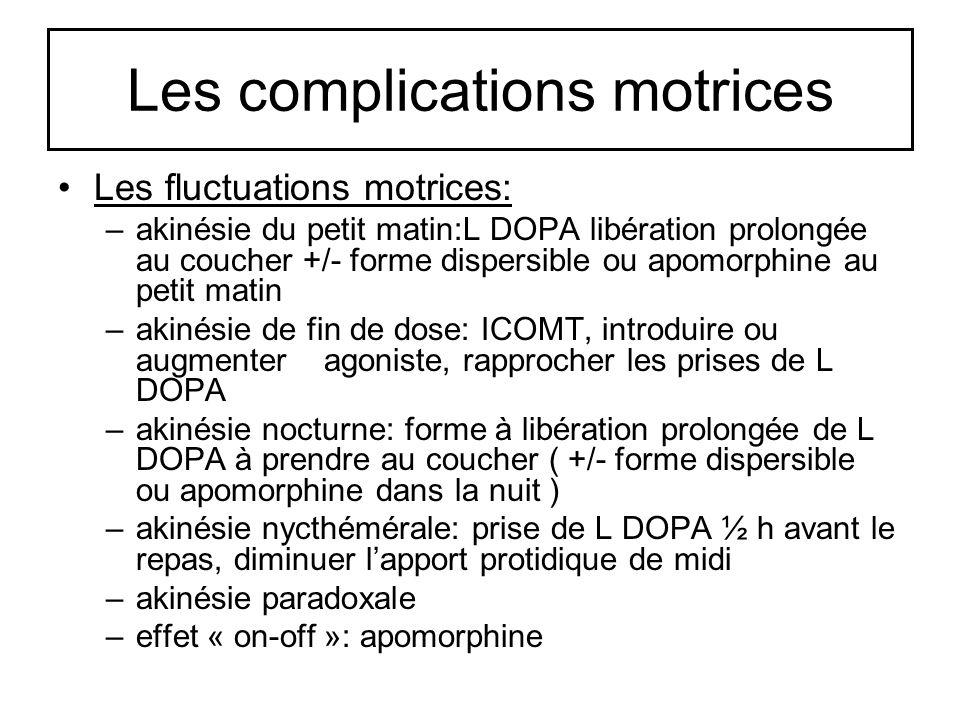 Les complications motrices Les fluctuations motrices: –akinésie du petit matin:L DOPA libération prolongée au coucher +/- forme dispersible ou apomorp
