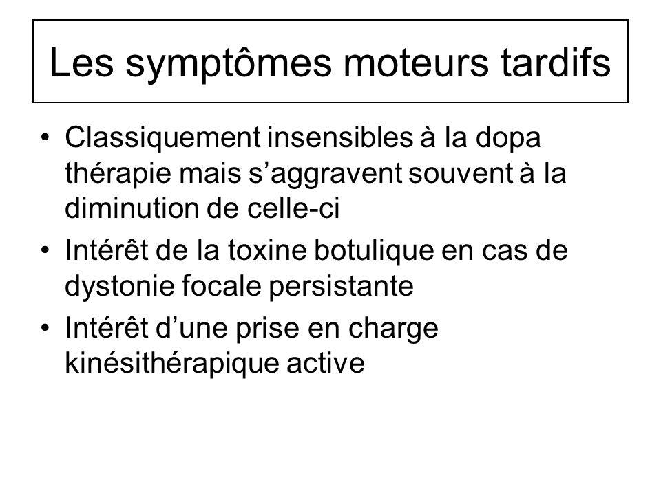 Les symptômes moteurs tardifs Classiquement insensibles à la dopa thérapie mais saggravent souvent à la diminution de celle-ci Intérêt de la toxine bo