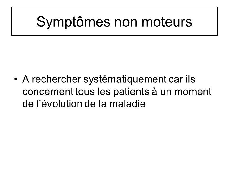 Symptômes non moteurs A rechercher systématiquement car ils concernent tous les patients à un moment de lévolution de la maladie