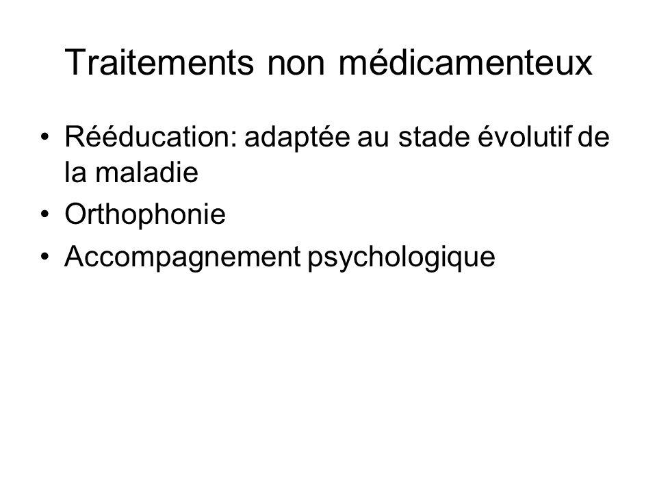 Traitements non médicamenteux Rééducation: adaptée au stade évolutif de la maladie Orthophonie Accompagnement psychologique