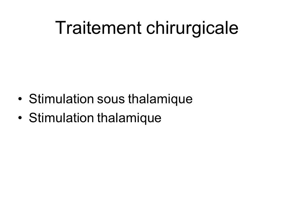 Traitement chirurgicale Stimulation sous thalamique Stimulation thalamique