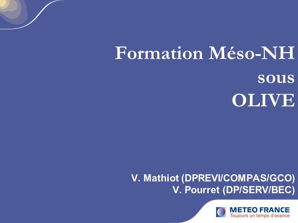 Formation Méso-NH sous OLIVE V. Mathiot (DPREVI/COMPAS/GCO) V. Pourret (DP/SERV/BEC)