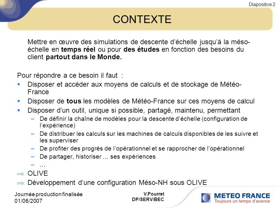 Journée production finalisée 01/06/2007 Diapositive 2 V.Pourret DP/SERV/BEC CONTEXTE Mettre en œuvre des simulations de descente déchelle jusquà la mé