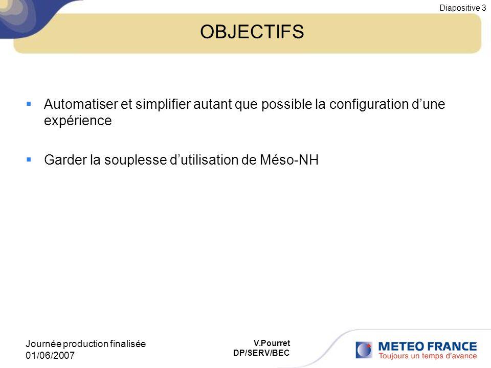 Journée production finalisée 01/06/2007 Diapositive 3 V.Pourret DP/SERV/BEC OBJECTIFS Automatiser et simplifier autant que possible la configuration d