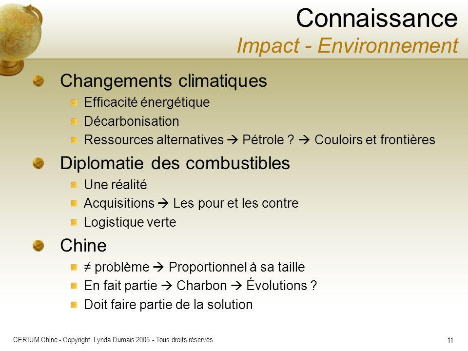 CERIUM Chine - Copyright Lynda Dumais 2005 - Tous droits réservés 11 Changements climatiques Efficacité énergétique Décarbonisation Ressources alterna