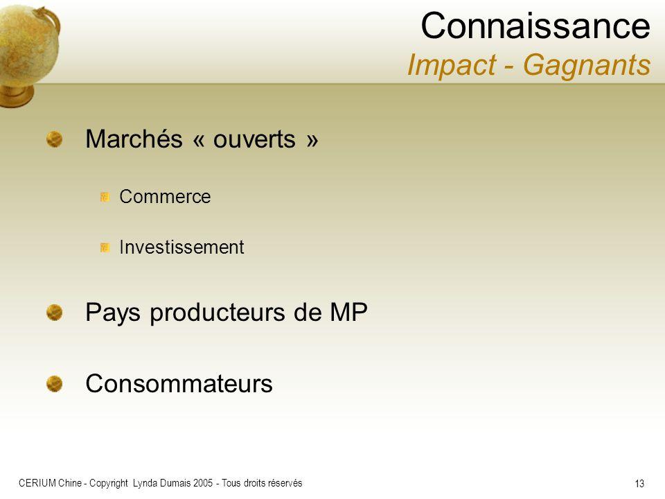 CERIUM Chine - Copyright Lynda Dumais 2005 - Tous droits réservés 13 Marchés « ouverts » Commerce Investissement Pays producteurs de MP Consommateurs