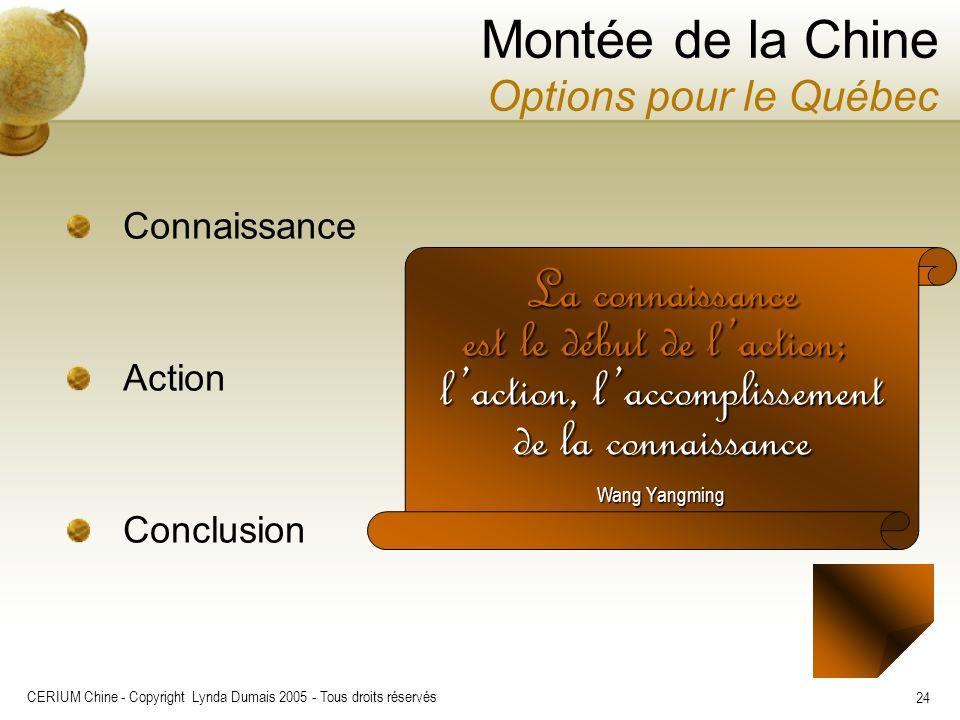 CERIUM Chine - Copyright Lynda Dumais 2005 - Tous droits réservés 24 Montée de la Chine Options pour le Québec Connaissance Action Conclusion La conna