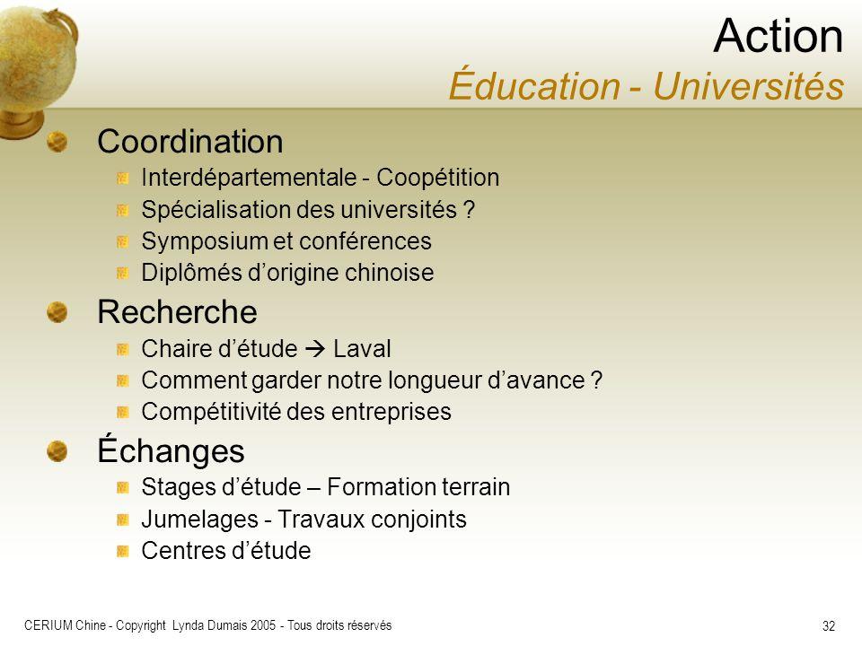 CERIUM Chine - Copyright Lynda Dumais 2005 - Tous droits réservés 32 Coordination Interdépartementale - Coopétition Spécialisation des universités ? S