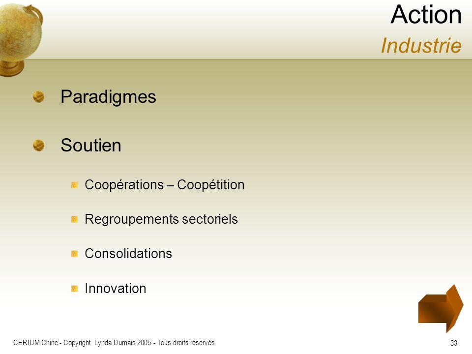 CERIUM Chine - Copyright Lynda Dumais 2005 - Tous droits réservés 33 Paradigmes Soutien Coopérations – Coopétition Regroupements sectoriels Consolidat