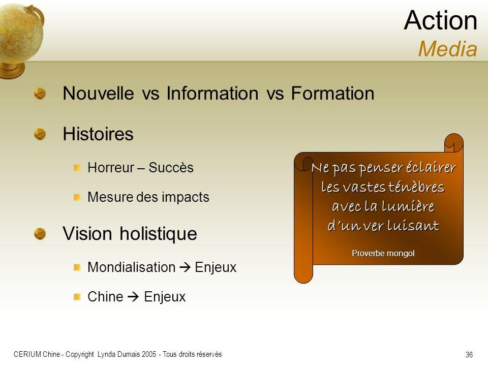 CERIUM Chine - Copyright Lynda Dumais 2005 - Tous droits réservés 36 Nouvelle vs Information vs Formation Histoires Horreur – Succès Mesure des impact