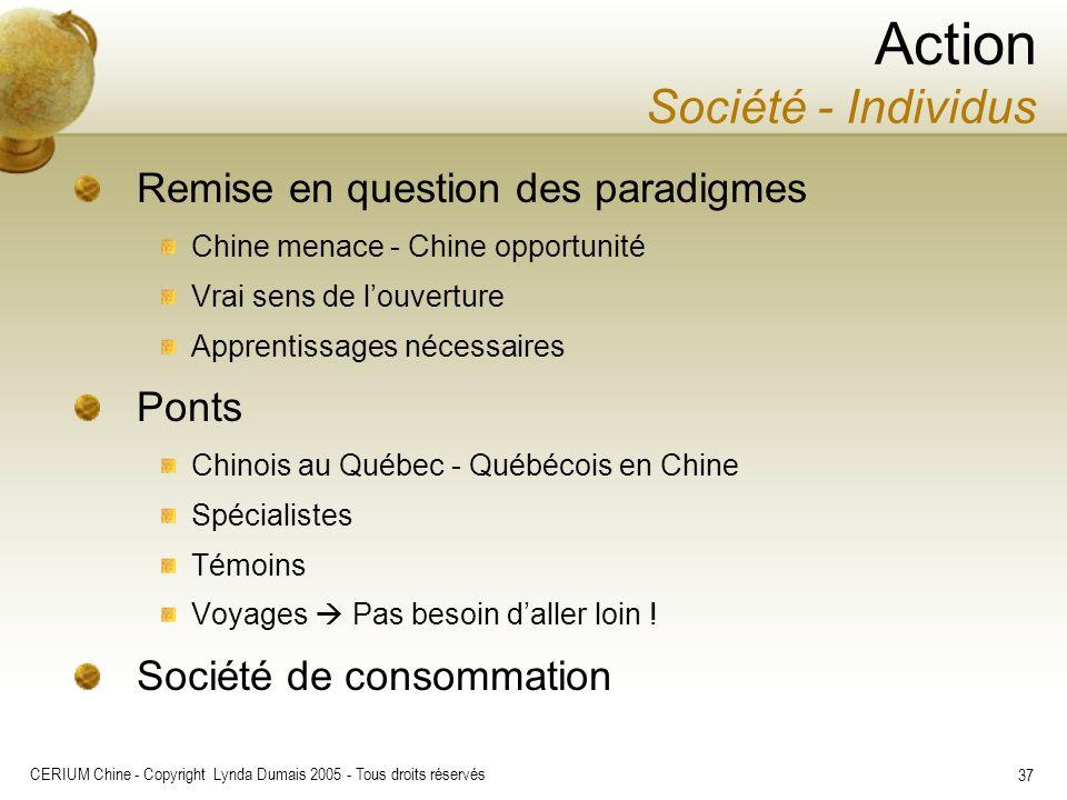 CERIUM Chine - Copyright Lynda Dumais 2005 - Tous droits réservés 37 Action Société - Individus Remise en question des paradigmes Chine menace - Chine