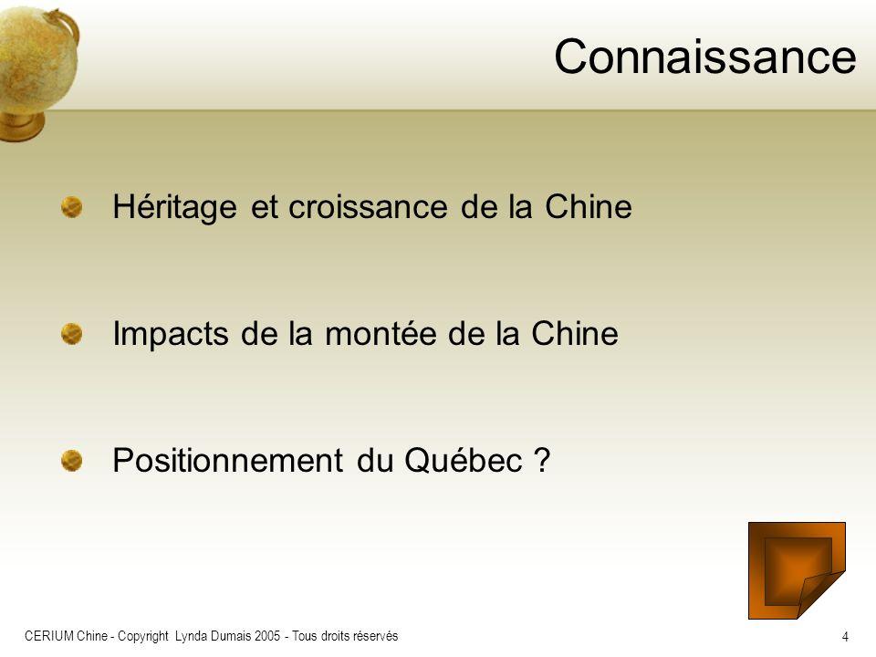 CERIUM Chine - Copyright Lynda Dumais 2005 - Tous droits réservés 4 Connaissance Héritage et croissance de la Chine Impacts de la montée de la Chine P