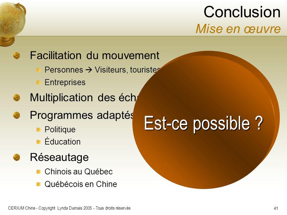 CERIUM Chine - Copyright Lynda Dumais 2005 - Tous droits réservés 41 Conclusion Mise en œuvre Facilitation du mouvement Personnes Visiteurs, touristes