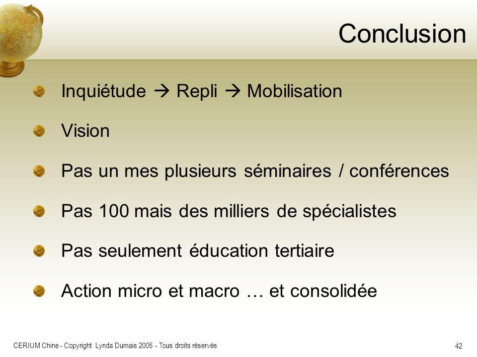 CERIUM Chine - Copyright Lynda Dumais 2005 - Tous droits réservés 42 Conclusion Inquiétude Repli Mobilisation Vision Pas un mes plusieurs séminaires /