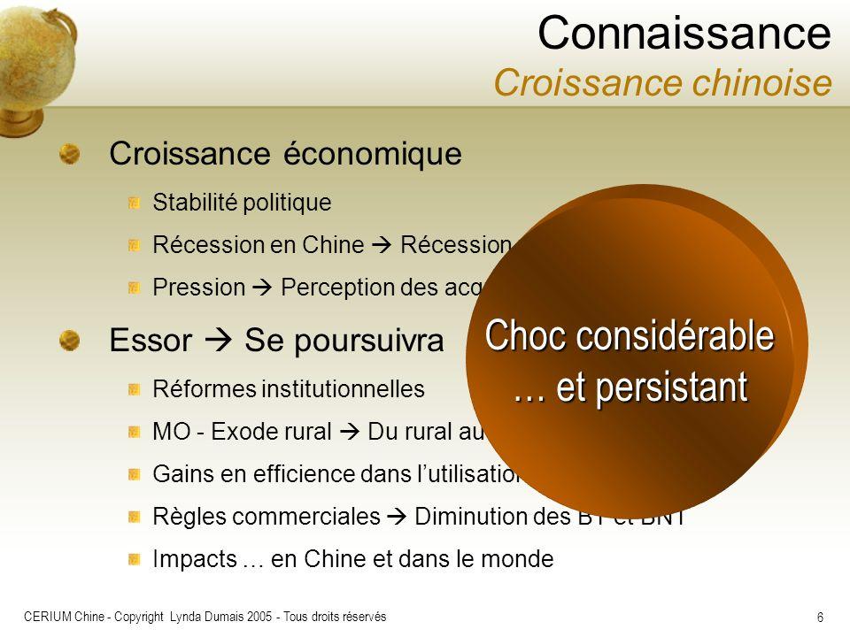 CERIUM Chine - Copyright Lynda Dumais 2005 - Tous droits réservés 6 Connaissance Croissance chinoise Croissance économique Stabilité politique Récessi
