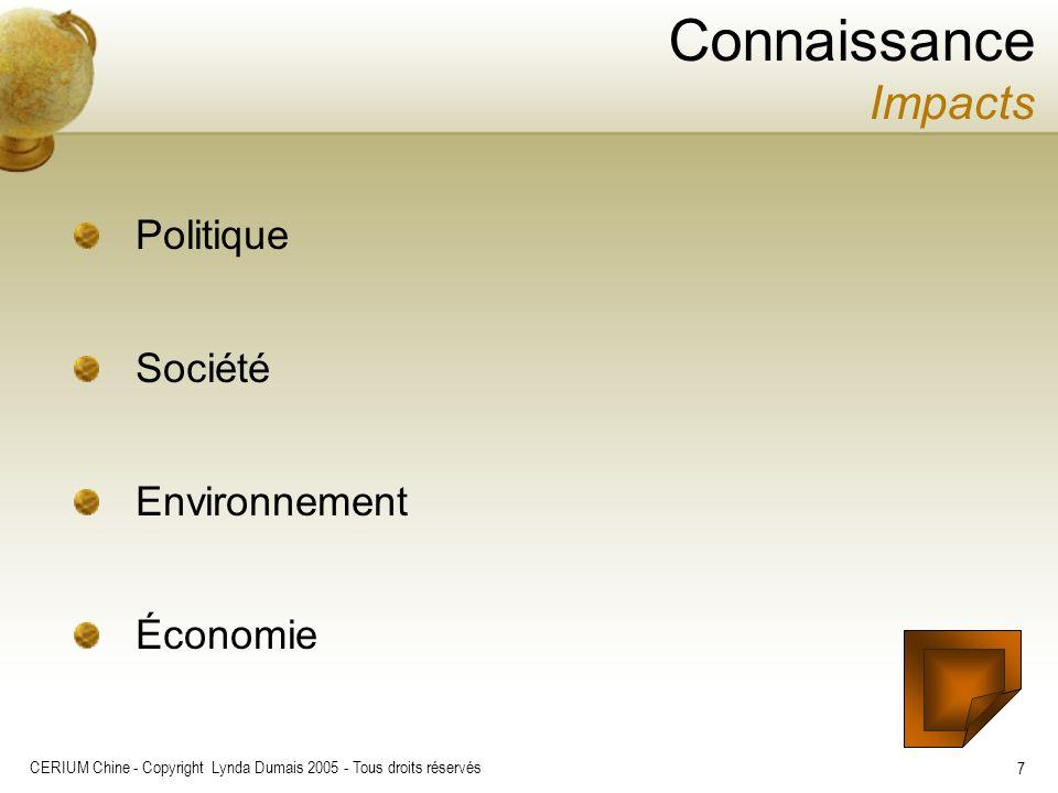 CERIUM Chine - Copyright Lynda Dumais 2005 - Tous droits réservés 7 Politique Société Environnement Économie Connaissance Impacts