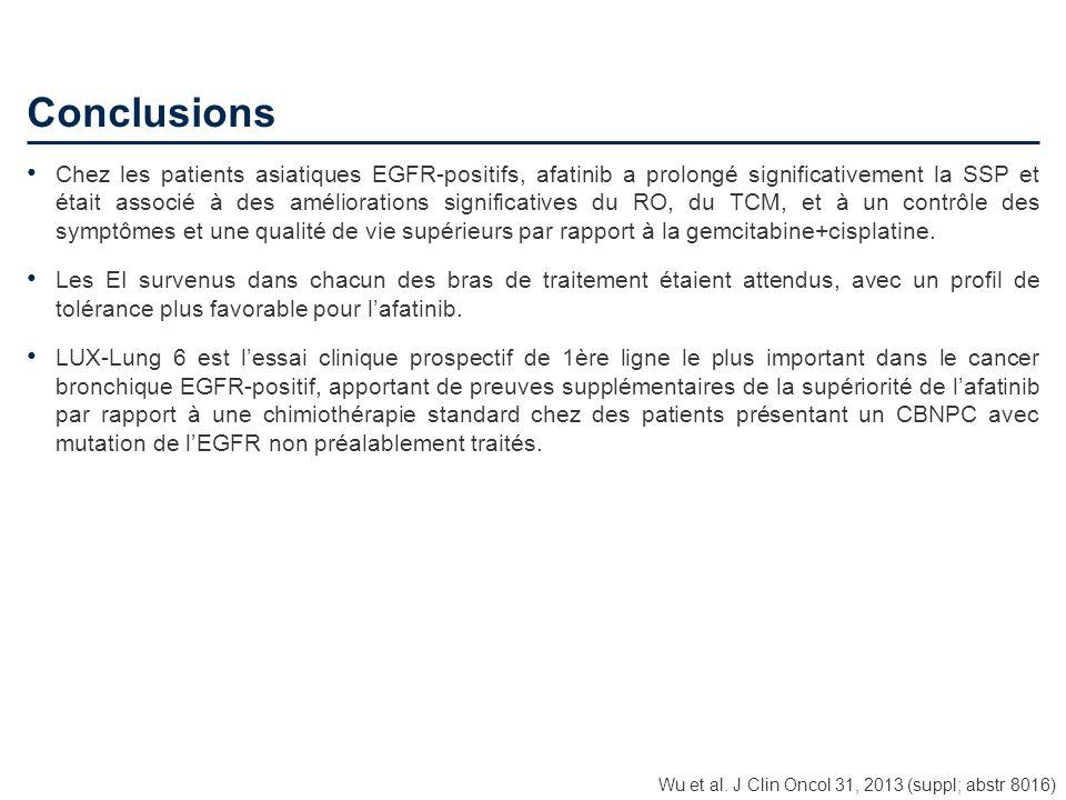 Conclusions Chez les patients asiatiques EGFR-positifs, afatinib a prolongé significativement la SSP et était associé à des améliorations significativ