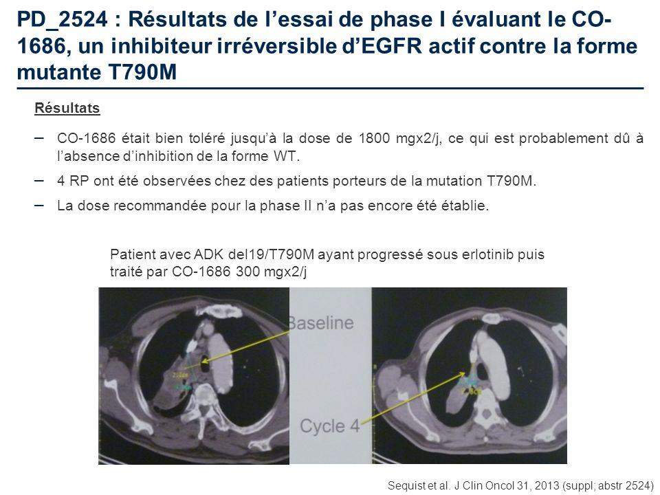 PD_2524 : Résultats de lessai de phase I évaluant le CO- 1686, un inhibiteur irréversible dEGFR actif contre la forme mutante T790M Résultats – CO-168