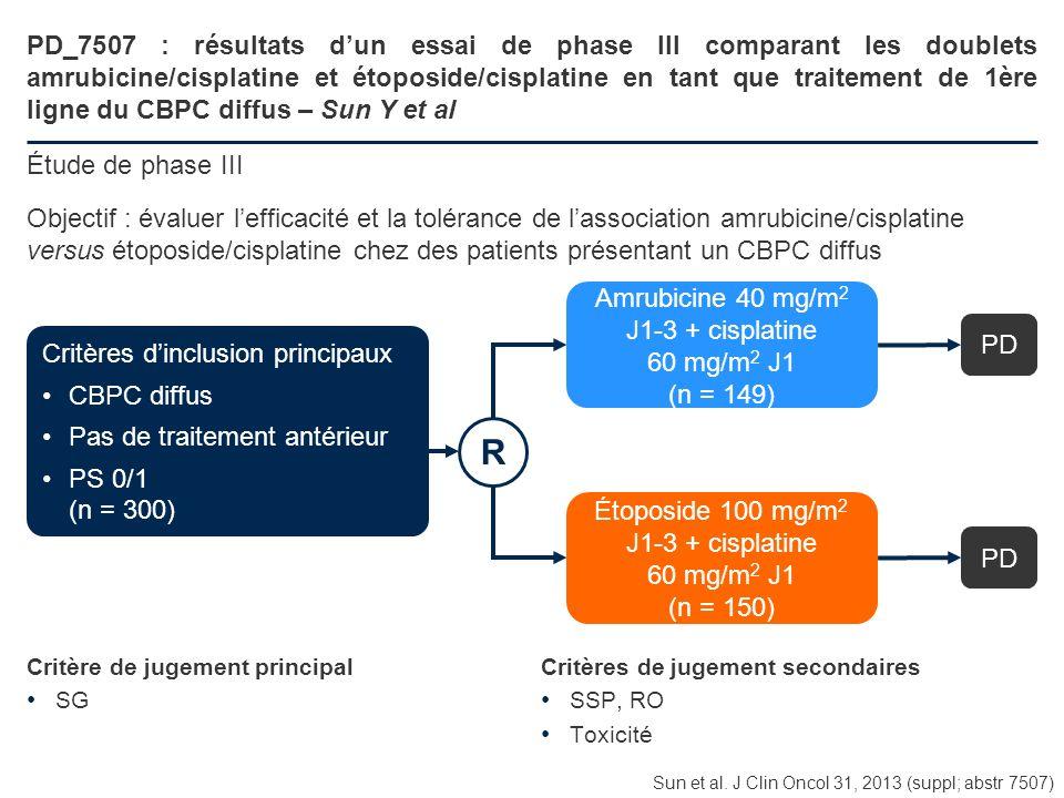 PD_7507 : résultats dun essai de phase III comparant les doublets amrubicine/cisplatine et étoposide/cisplatine en tant que traitement de 1ère ligne d