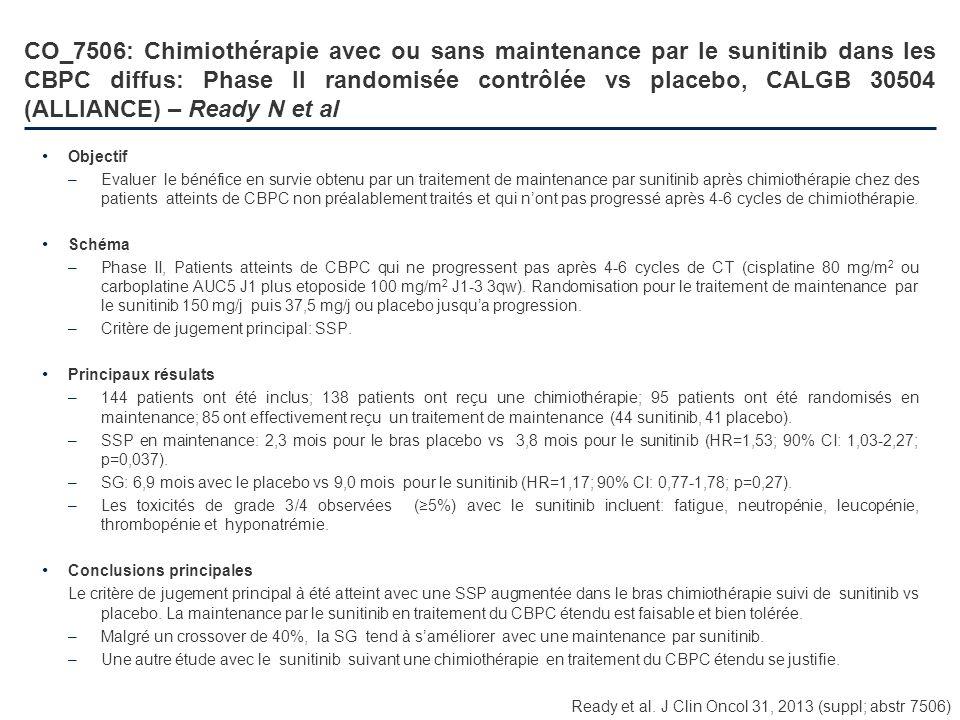 CO_7506: Chimiothérapie avec ou sans maintenance par le sunitinib dans les CBPC diffus: Phase II randomisée contrôlée vs placebo, CALGB 30504 (ALLIANC