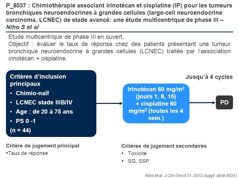 P_8037 : Chimiothérapie associant irinotécan et cisplatine (IP) pour les tumeurs bronchiques neuroendocrines à grandes cellules (large-cell neuroendoc