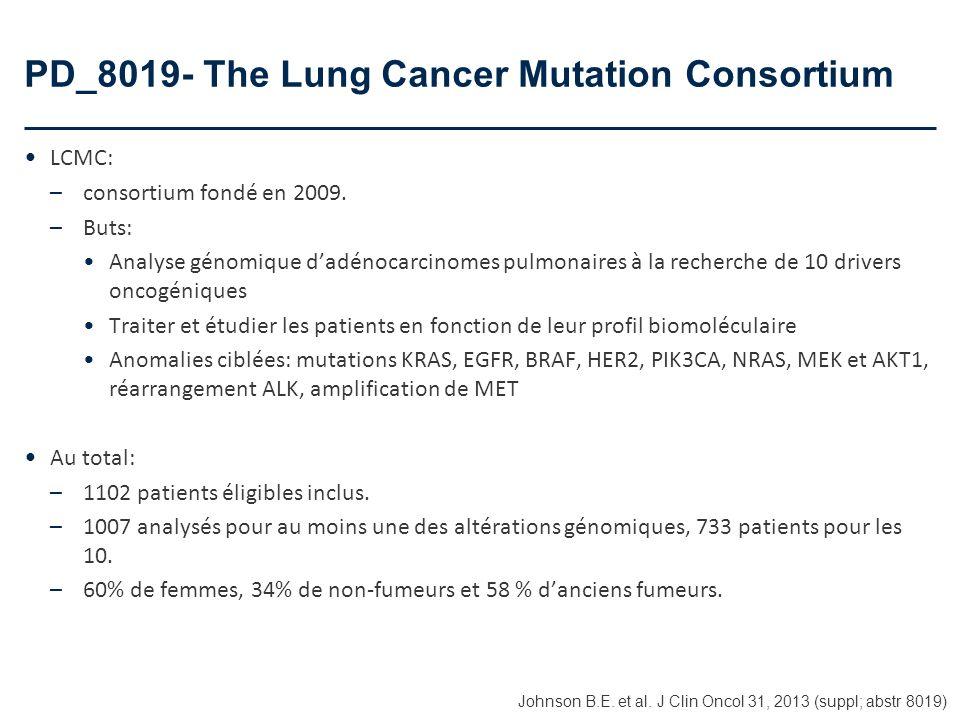 PD_8019- The Lung Cancer Mutation Consortium LCMC: –consortium fondé en 2009. –Buts: Analyse génomique dadénocarcinomes pulmonaires à la recherche de