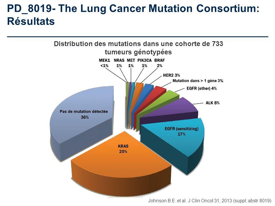 PD_8019- The Lung Cancer Mutation Consortium: Résultats Distribution des mutations dans une cohorte de 733 tumeurs génotypées Johnson B.E. et al. J Cl