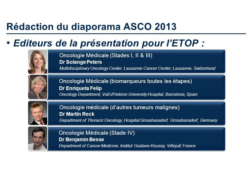 Rédaction du diaporama ASCO 2013 Oncologie Médicale (biomarqueurs toutes les étapes) Dr Enriqueta Felip Oncology Department, Vall d'Hebron University