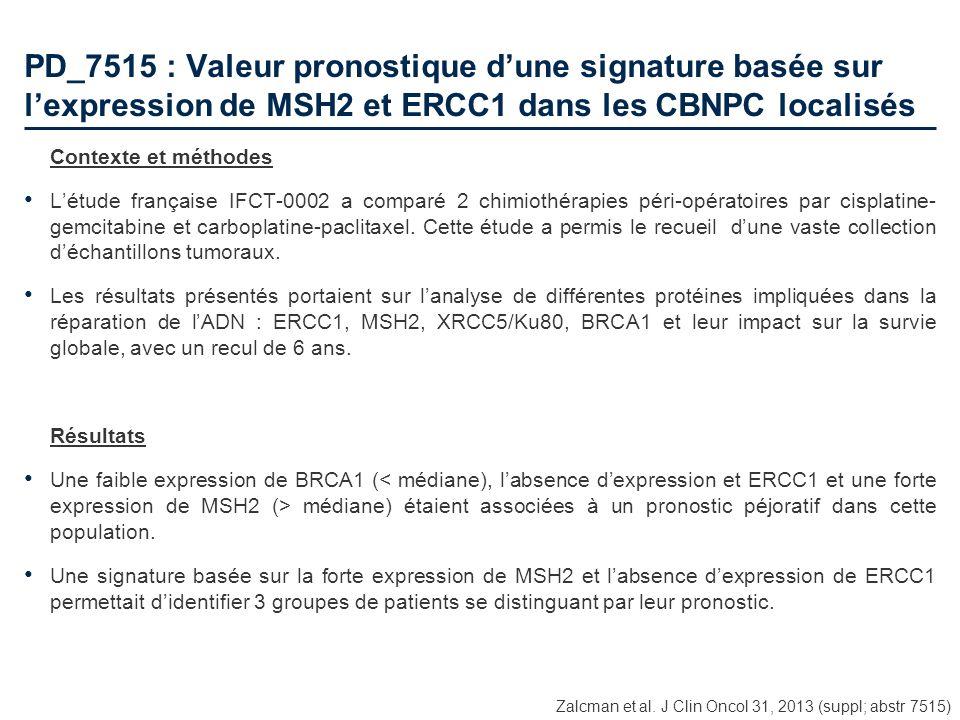 PD_7515 : Valeur pronostique dune signature basée sur lexpression de MSH2 et ERCC1 dans les CBNPC localisés Contexte et méthodes Létude française IFCT