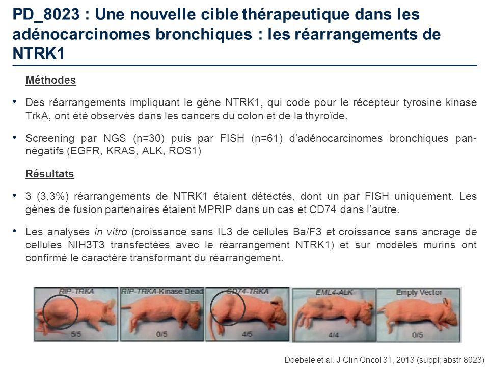 PD_8023 : Une nouvelle cible thérapeutique dans les adénocarcinomes bronchiques : les réarrangements de NTRK1 Méthodes Des réarrangements impliquant l