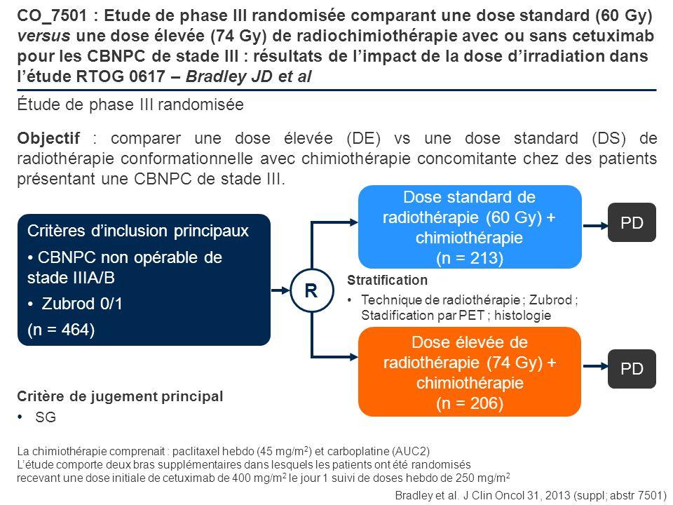 CO_7501 : Etude de phase III randomisée comparant une dose standard (60 Gy) versus une dose élevée (74 Gy) de radiochimiothérapie avec ou sans cetuxim