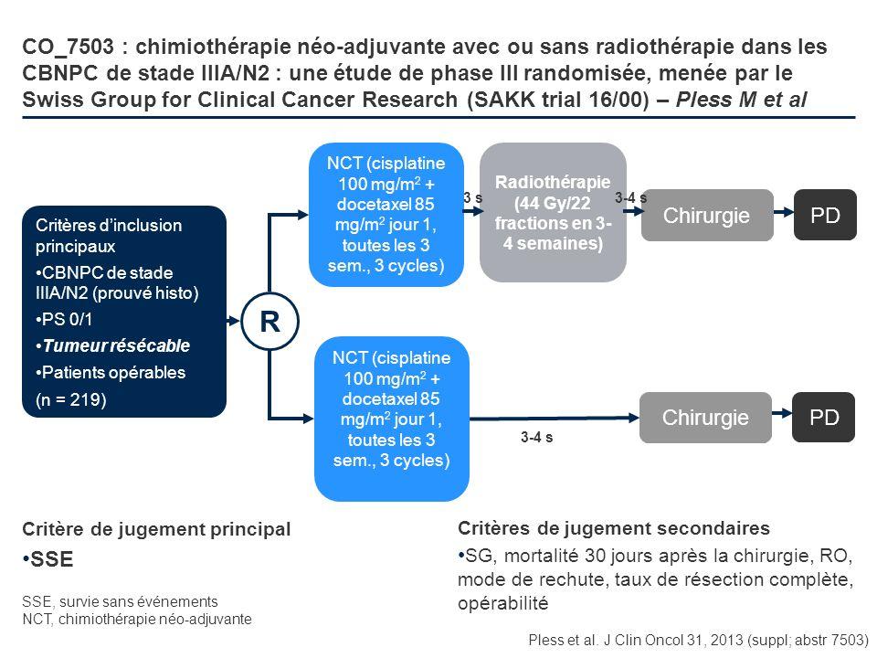 CO_7503 : chimiothérapie néo-adjuvante avec ou sans radiothérapie dans les CBNPC de stade IIIA/N2 : une étude de phase III randomisée, menée par le Sw