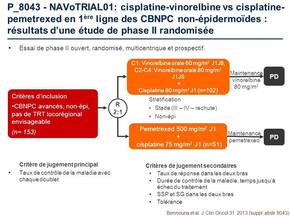 P_8043 - NAVoTRIAL01: cisplatine-vinorelbine vs cisplatine- pemetrexed en 1 ère ligne des CBNPC non-épidermoïdes : résultats dune étude de phase II ra