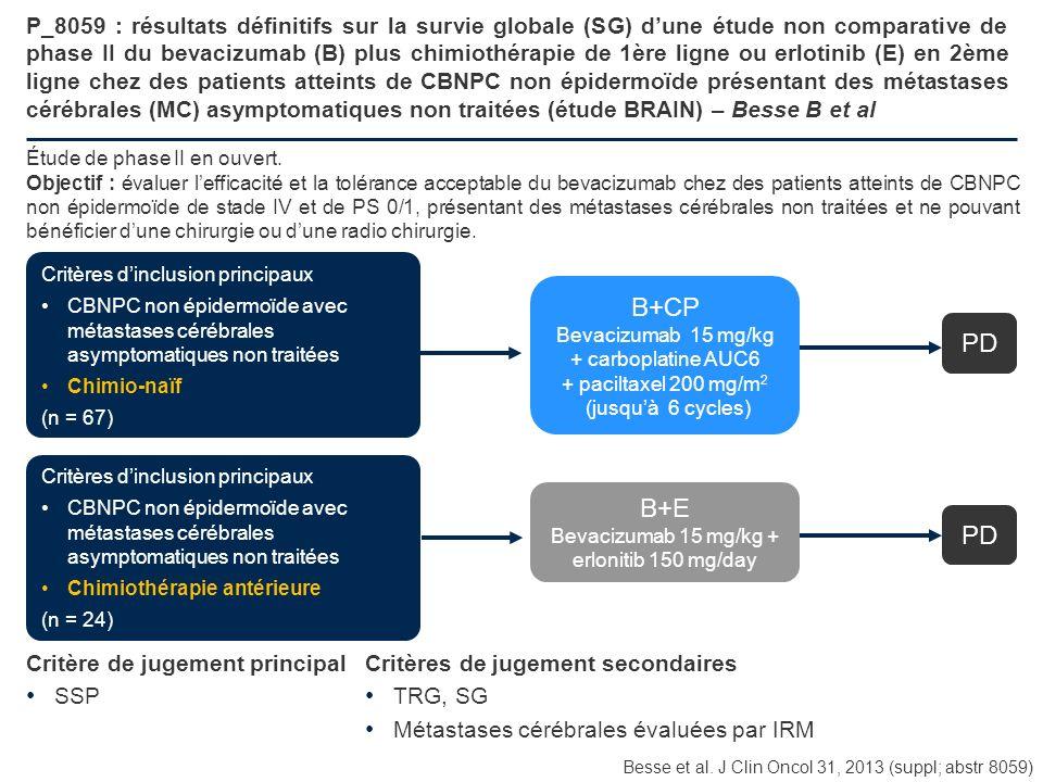 P_8059 : résultats définitifs sur la survie globale (SG) dune étude non comparative de phase II du bevacizumab (B) plus chimiothérapie de 1ère ligne o