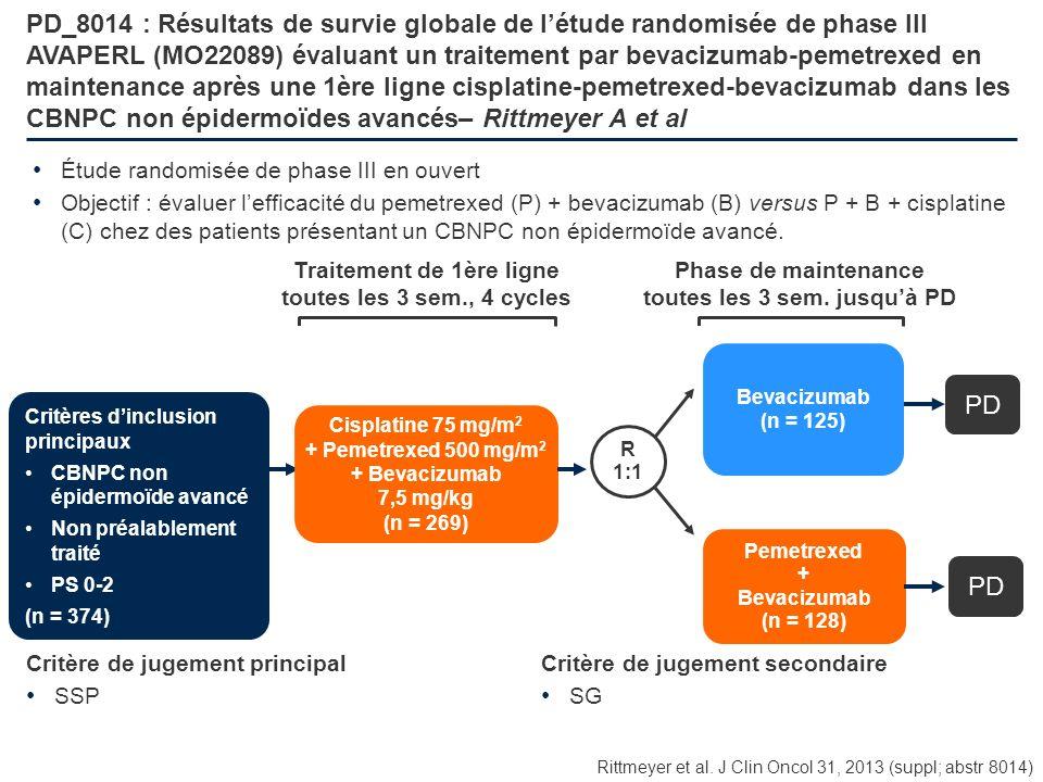 PD_8014 : Résultats de survie globale de létude randomisée de phase III AVAPERL (MO22089) évaluant un traitement par bevacizumab-pemetrexed en mainten