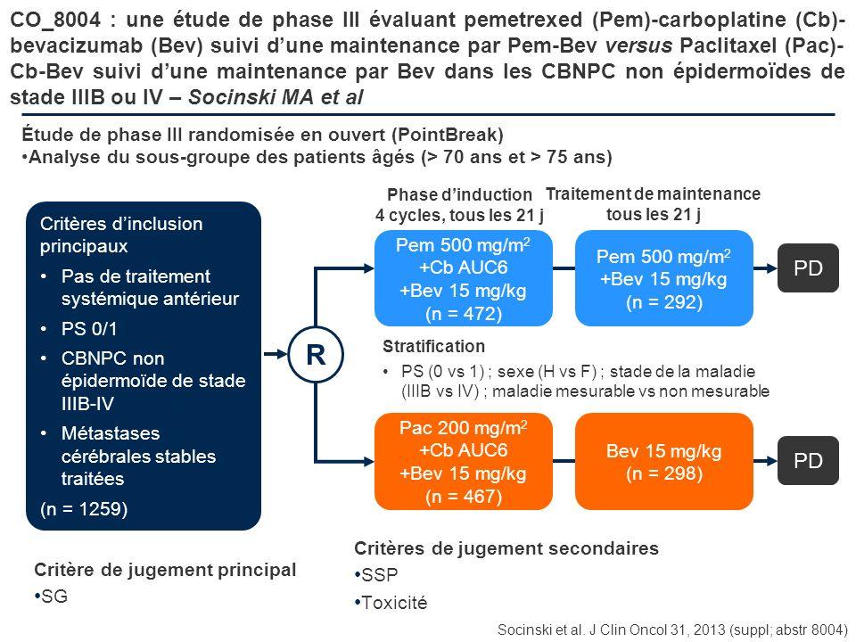 CO_8004 : une étude de phase III évaluant pemetrexed (Pem)-carboplatine (Cb)- bevacizumab (Bev) suivi dune maintenance par Pem-Bev versus Paclitaxel (