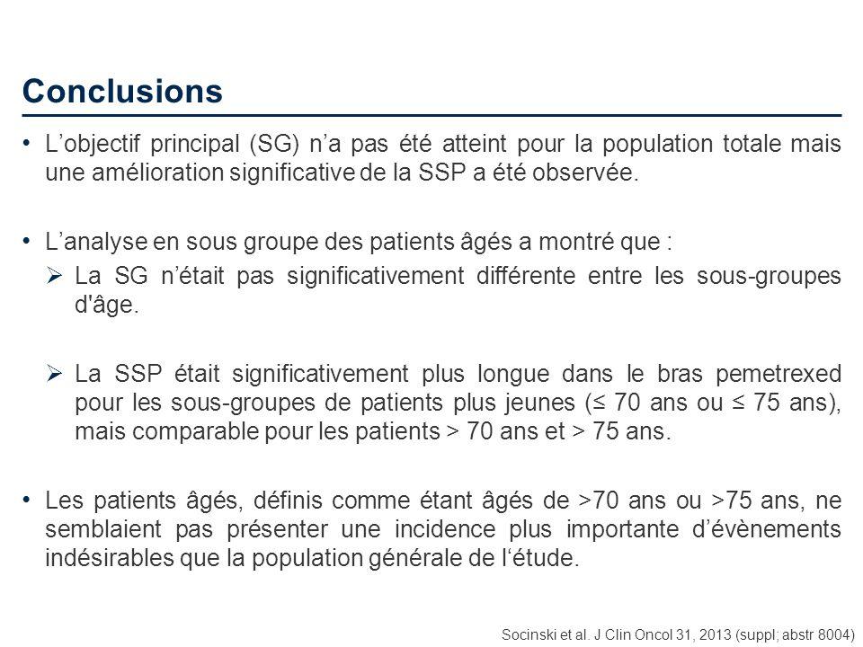 Conclusions Lobjectif principal (SG) na pas été atteint pour la population totale mais une amélioration significative de la SSP a été observée. Lanaly