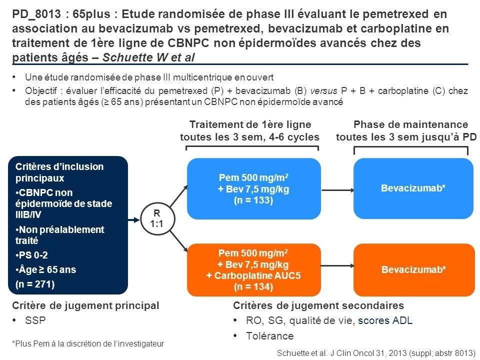 PD_8013 : 65plus : Etude randomisée de phase III évaluant le pemetrexed en association au bevacizumab vs pemetrexed, bevacizumab et carboplatine en tr