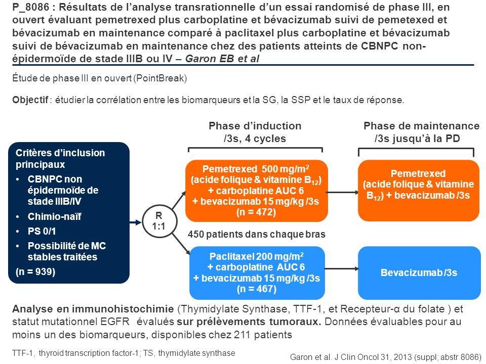 P_8086 : Résultats de lanalyse transrationnelle dun essai randomisé de phase III, en ouvert évaluant pemetrexed plus carboplatine et bévacizumab suivi