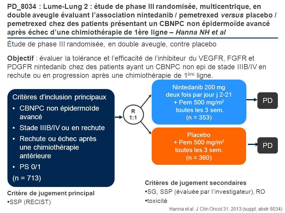 PD_8034 : Lume-Lung 2 : étude de phase III randomisée, multicentrique, en double aveugle évaluant lassociation nintedanib / pemetrexed versus placebo
