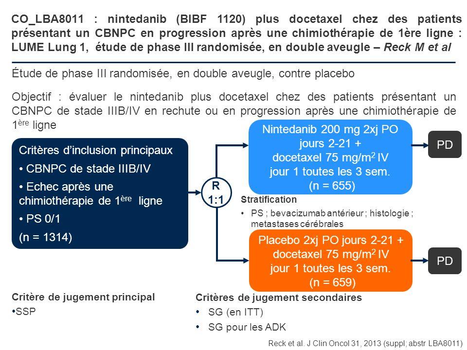 CO_LBA8011 : nintedanib (BIBF 1120) plus docetaxel chez des patients présentant un CBNPC en progression après une chimiothérapie de 1ère ligne : LUME