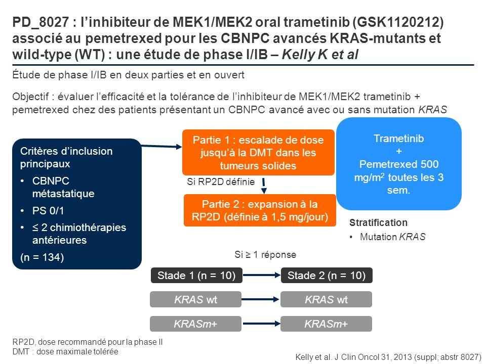 PD_8027 : linhibiteur de MEK1/MEK2 oral trametinib (GSK1120212) associé au pemetrexed pour les CBNPC avancés KRAS-mutants et wild-type (WT) : une étud
