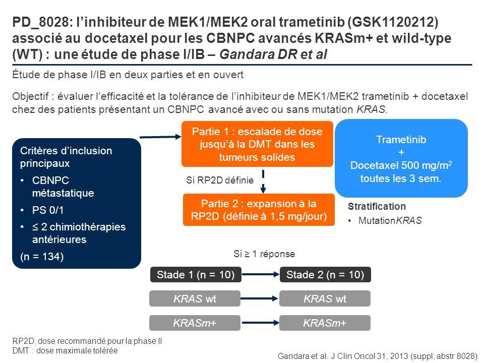 PD_8028: linhibiteur de MEK1/MEK2 oral trametinib (GSK1120212) associé au docetaxel pour les CBNPC avancés KRASm+ et wild-type (WT) : une étude de pha