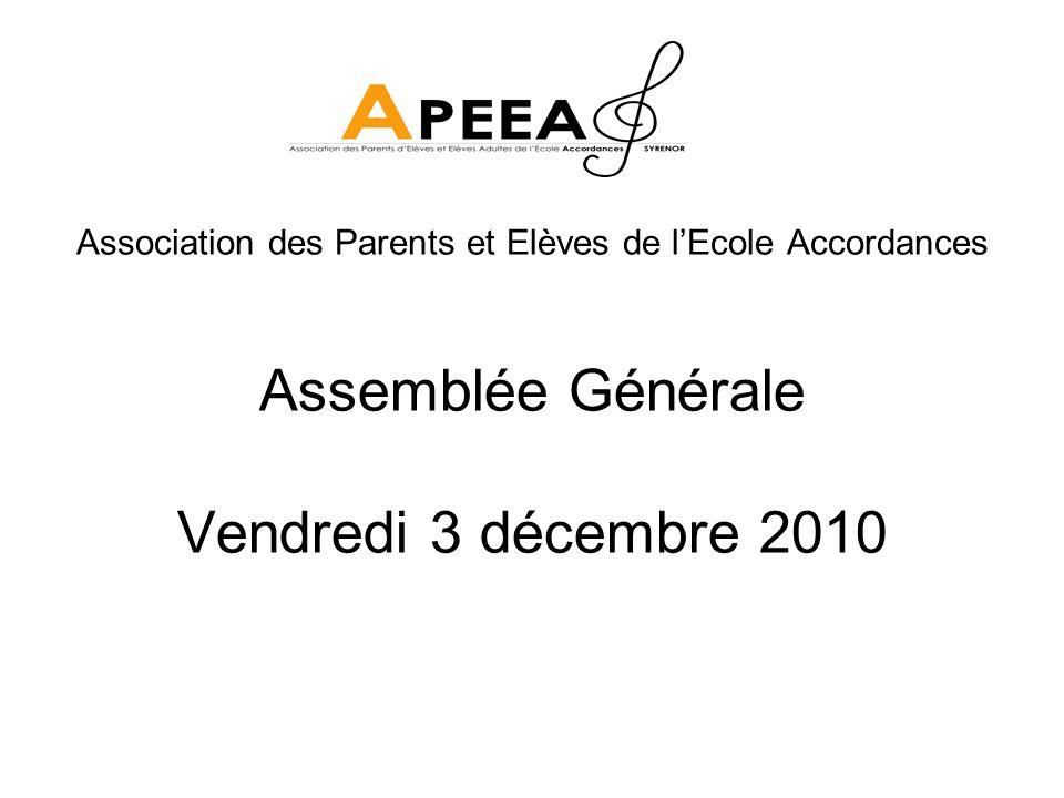 Assemblée Générale Vendredi 3 décembre 2010 Association des Parents et Elèves de lEcole Accordances