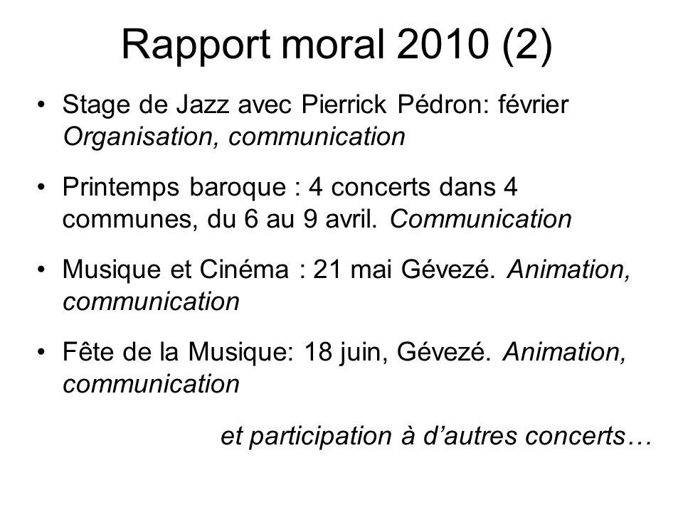 Rapport moral 2010 (2) Stage de Jazz avec Pierrick Pédron: février Organisation, communication Printemps baroque : 4 concerts dans 4 communes, du 6 au 9 avril.