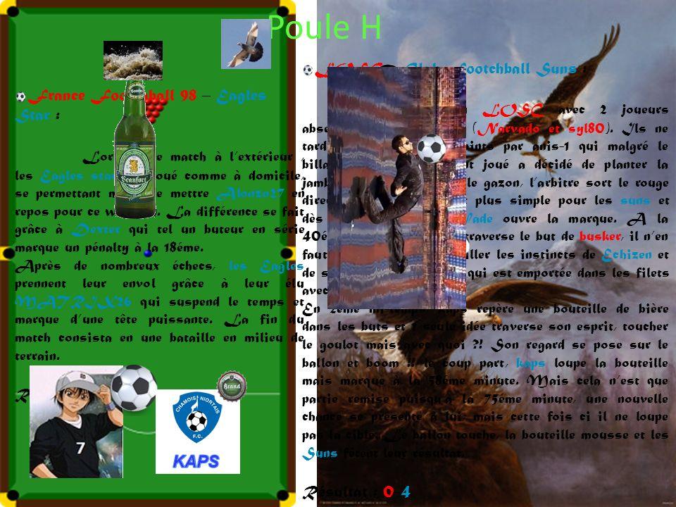 Poule H France Footchball 98 – Eagles Star : Lors de ce match à lextérieur, les Eagles star ont joué comme à domicile, se permettant même de mettre Alonzo27 en repos pour ce weekend.