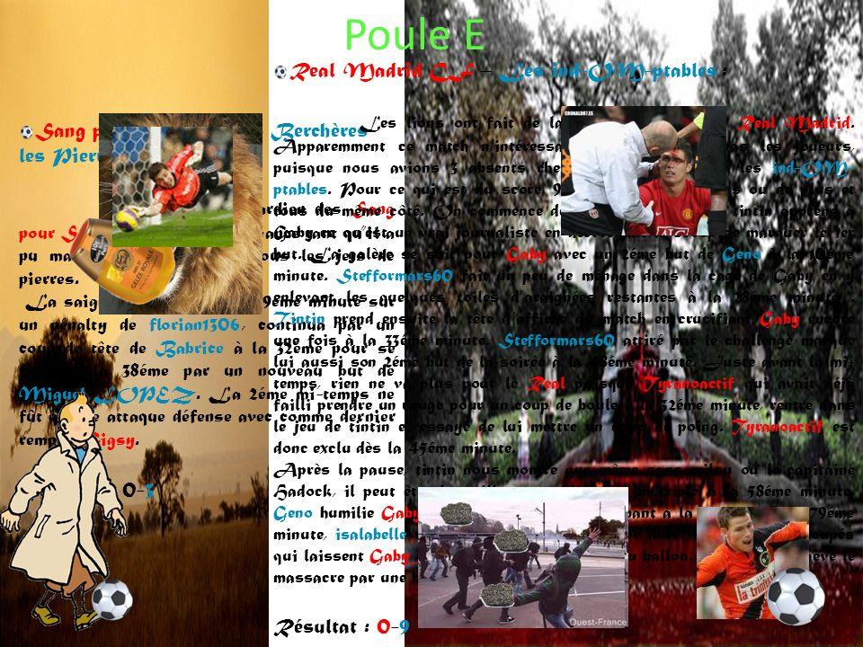 Poule E Sang pour Sang – AS Berchères les Pierres A : Grand match du gardien des Sang pour Sang qui a retardé léchéance tant quil a pu mais a fini par céder sous les jets de pierres.