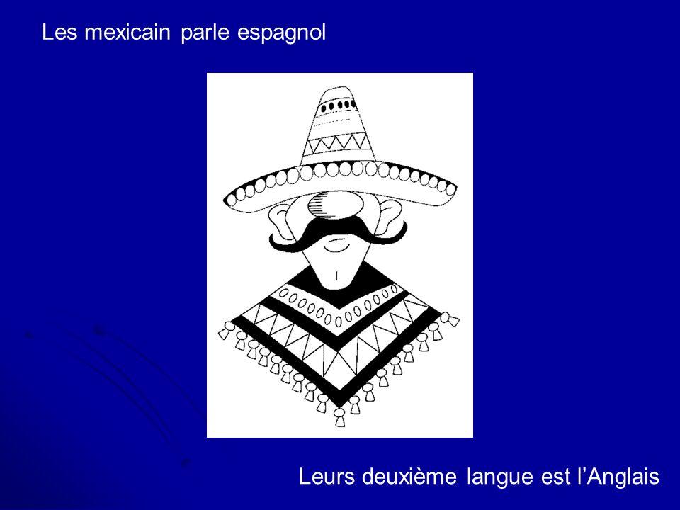 Les mexicain parle espagnol Leurs deuxième langue est lAnglais